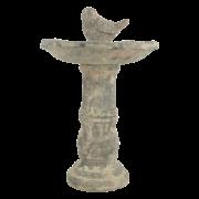 AC birdbath on pedestal moss