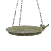 AM Green hanging birdbath 1 bird