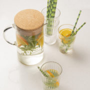 Paper straw bamboo print set of 24