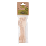 Wooden disposable fork set of 8