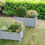 Rect. planters set of 2 grey S/L