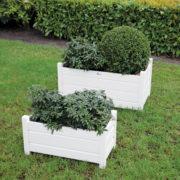 Rect. planters set of 2 white S/L