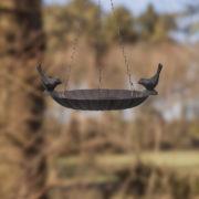 Hanging birdbath with 2 birds