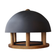 Round oak bird table with black roof