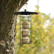 Suet ball dispenser with leaf roof