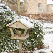 Wooden mini bird table