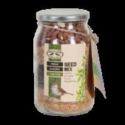 Jar with layered bird food