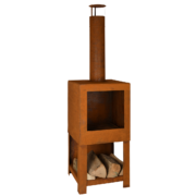 Rust terrace heater with wood storage