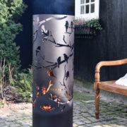 Fire drum birds on twig