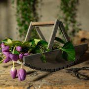 Panier cueillette de fleurs en bois